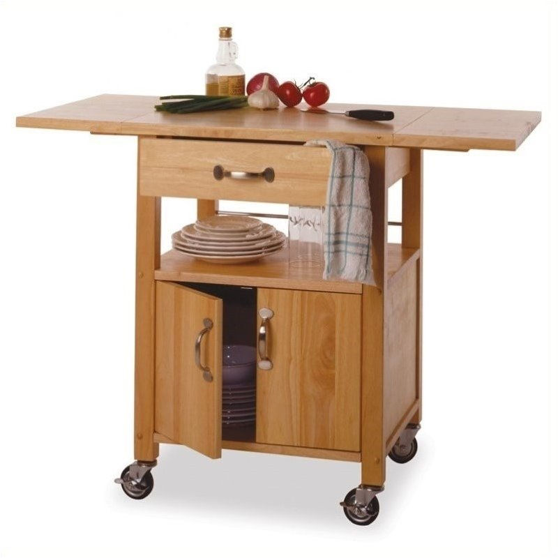 Pemberly Row Butcher Block Kitchen Cart with Drop Leaf in Natural Finish