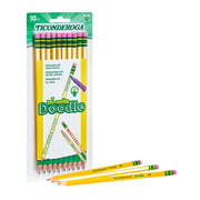 Ticonderoga Tri-Write Doodle Wood-Cased Graphite Pencils, #2 HB Soft, Pre-Sharpened, Yellow and White, 10 Count