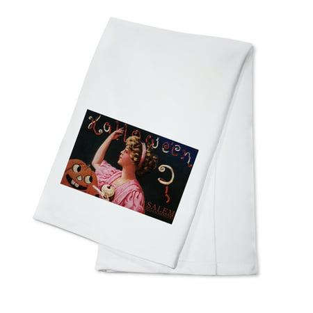 Salem, Massachusetts - Halloween Woman & Jack-O-Lantern - Vintage Postcard (100% Cotton Kitchen - Halloween Postcards For Sale