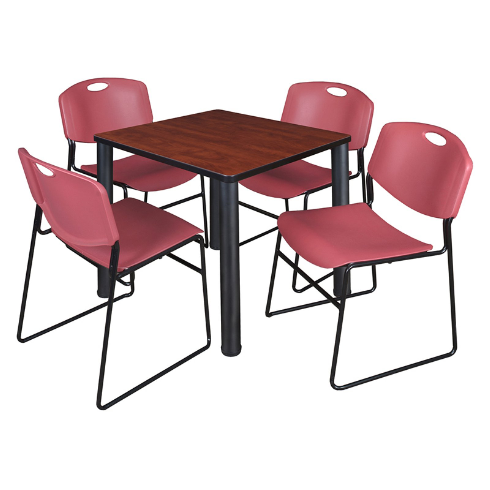 "Kee 36"" Square Breakroom Table- Cherry/ Chrome & 4 Zeng Stack Chairs- Blue"