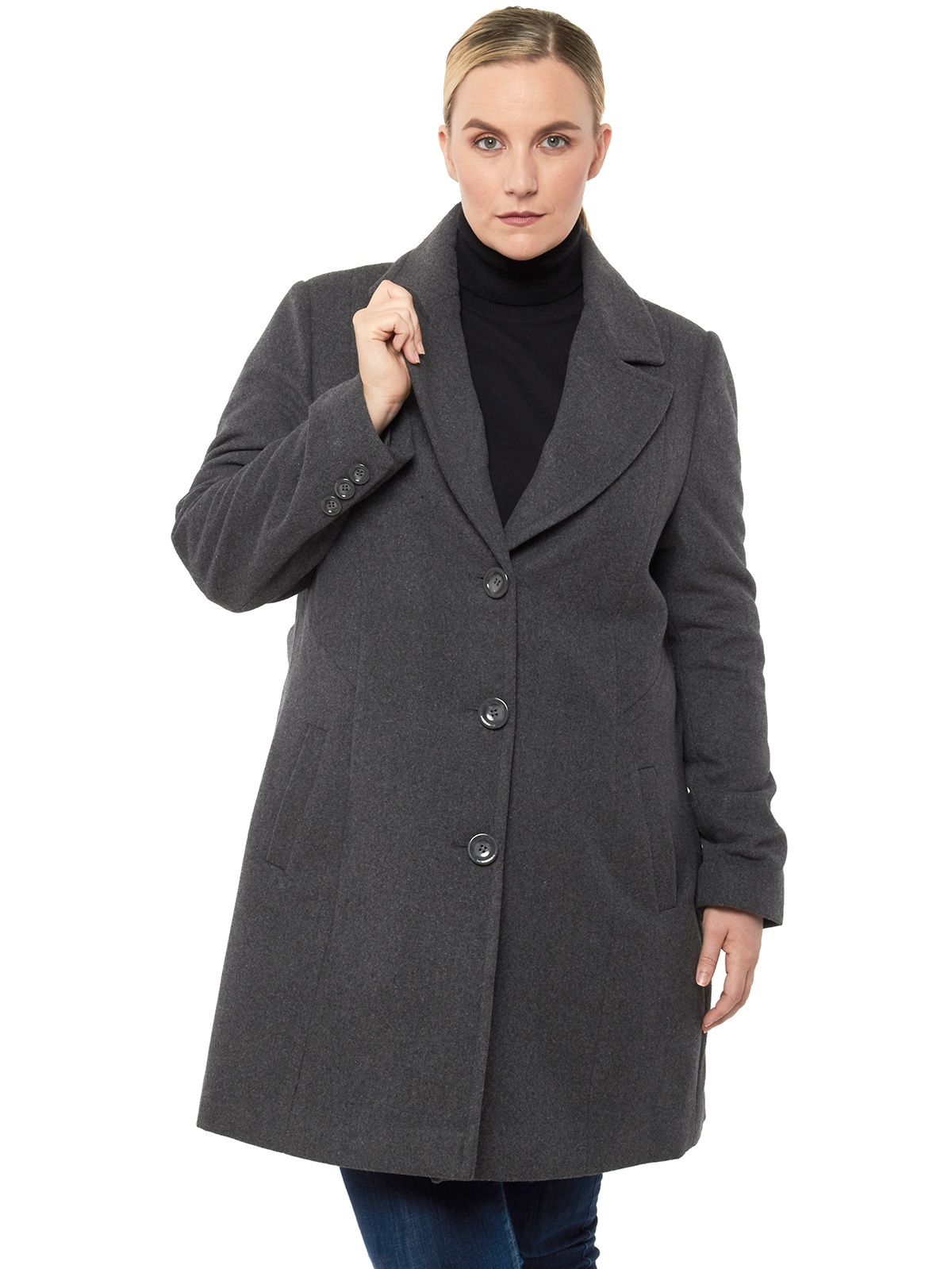 Alpine Swiss Womens Plus Size Wool Overcoat Walking Coat Blazer Pea Coat Jacket Gray 1XL by alpine swiss