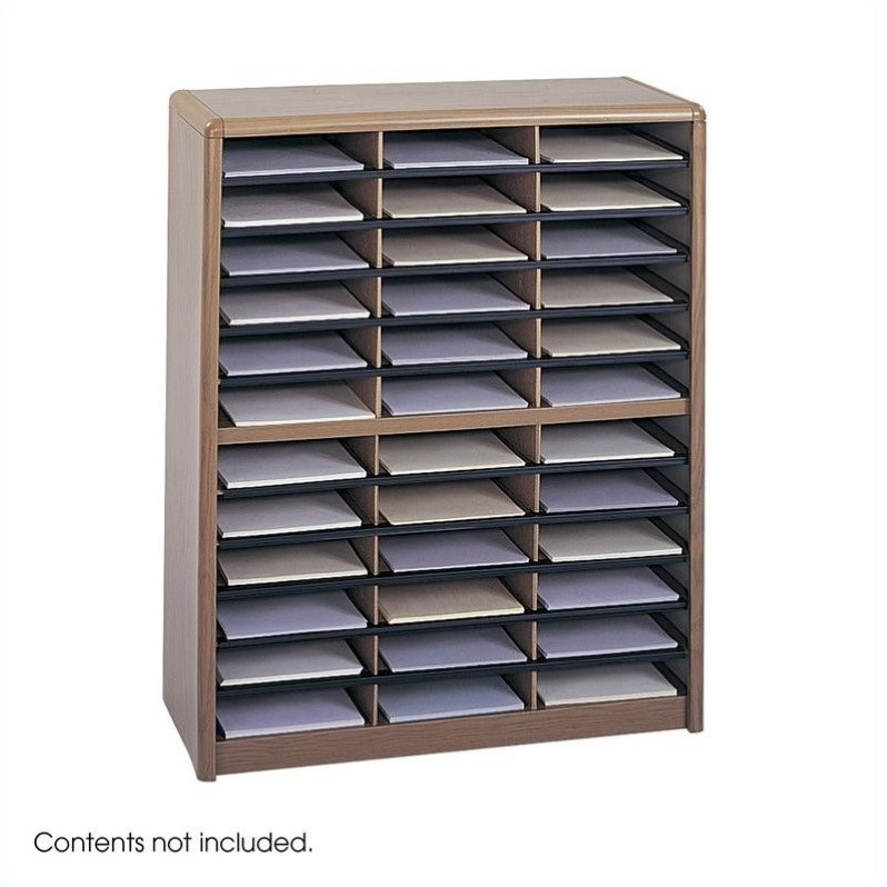 Scranton & Co 36 Compartment Metal File Organizer in Medium Oak