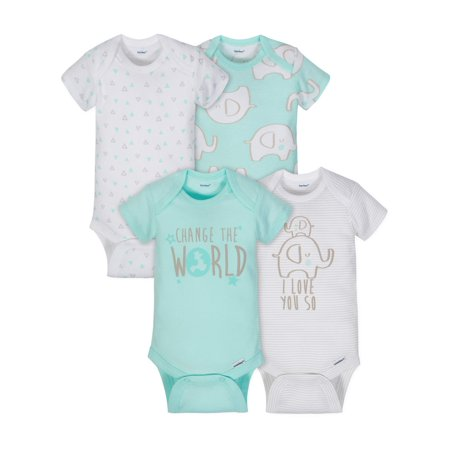 Short Sleeve Onesies Bodysuits, 4pk (Baby Boys or Baby Girls Unisex)