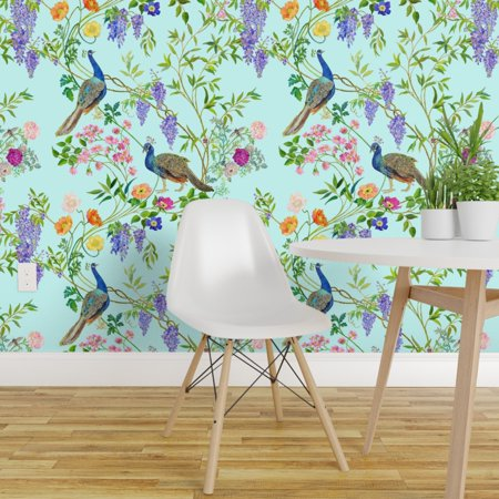 Peel-and-Stick Removable Wallpaper Teal Chinoiserie Spring Floral Bamboo Bamboo Grass Cloth Wallpaper