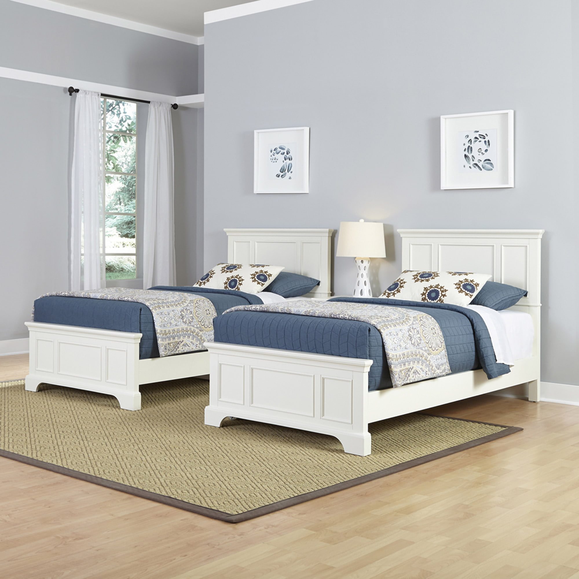 home styles naples 2 twin beds and night stand - walmart