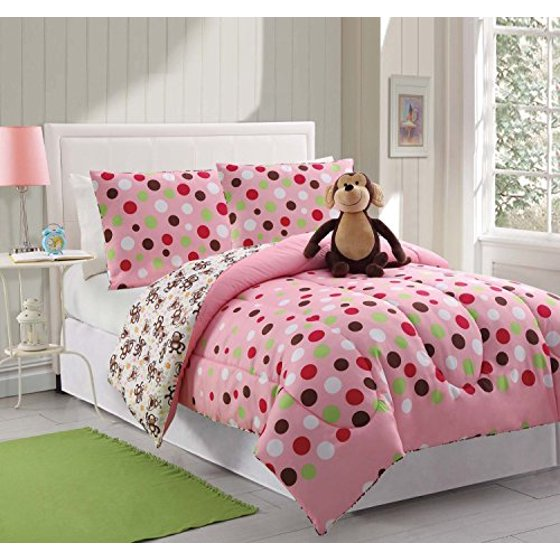 3 piece kids teens twin reveresable comforter set pink polka dots design luxury bed in a bag. Black Bedroom Furniture Sets. Home Design Ideas