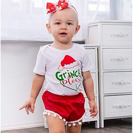 Cute 2PCS Infant Cotton Fit Baby Girl Romper Tops+Shorts Pants Christmas Outfits - Cute Christmas Outfit