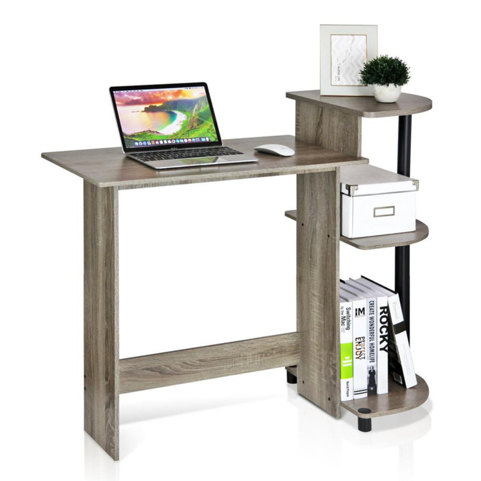 Furinno 11181GYW/BK Compact Computer Desk, French Oak Grey/Black