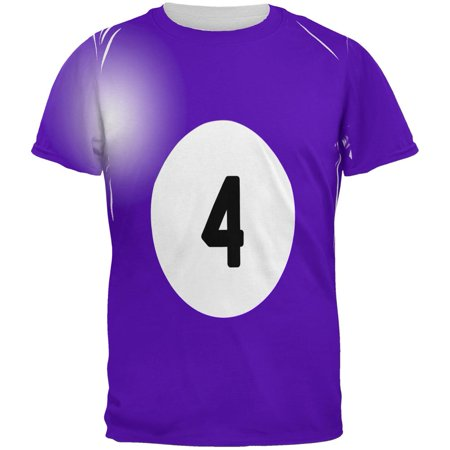 Halloween Billiard Pool Ball Four Costume All Over Mens T Shirt - Pool Halloween