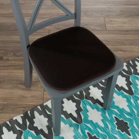 "- Memory Foam Chair Cushion-Square 16""x 16"" Chair Pad with Non-Slip Backing for Kitchen, Dining Room, Patio, or Tailgating by Lavish Home (Brown)"