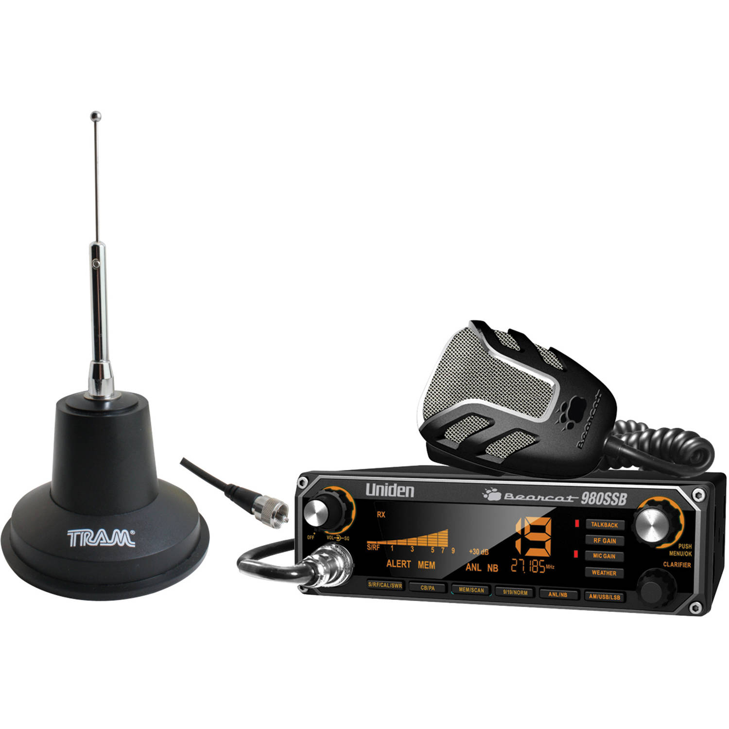 Uniden Bearcat 980SSB CB Radio With SSB and Tram 3500 Heavy-Duty Magnet-Mount CB Antenna Kit by Uniden