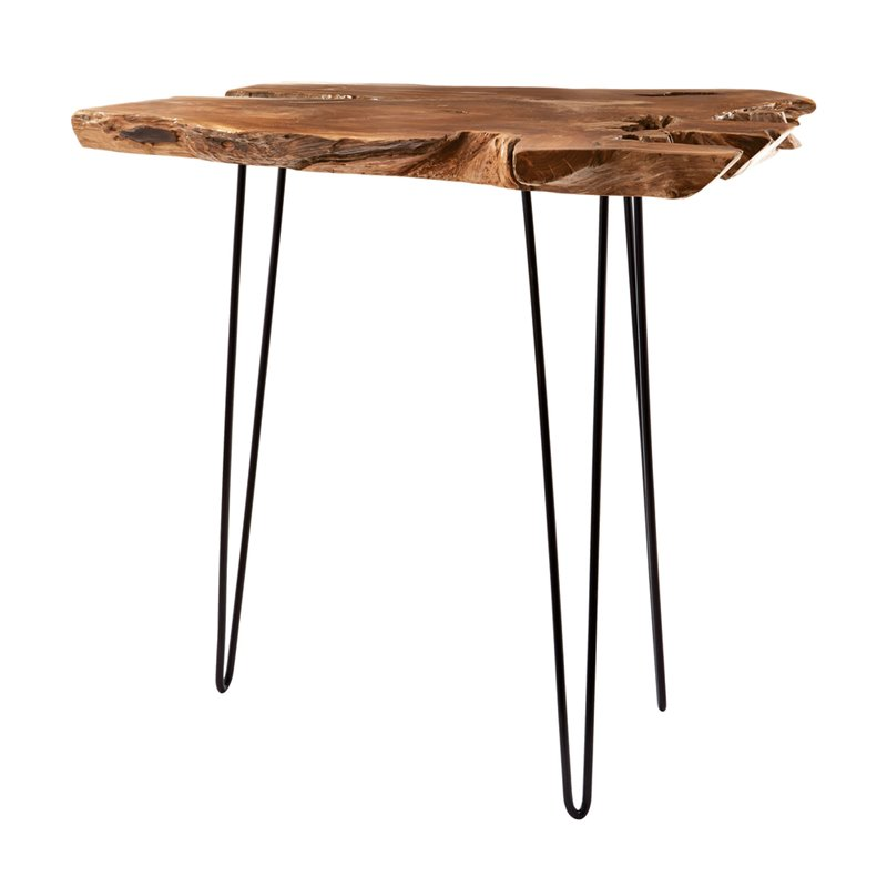 Dimond Home Teak Furniture End Table in Natural Teak and Iron by Dimond Home