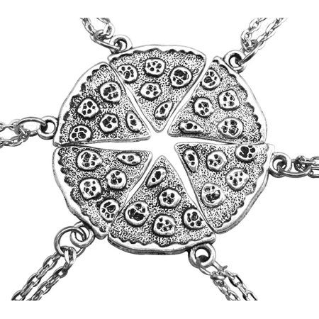 Antique Silver Color Pizza Slice Friendship Necklace Set of 6, 17