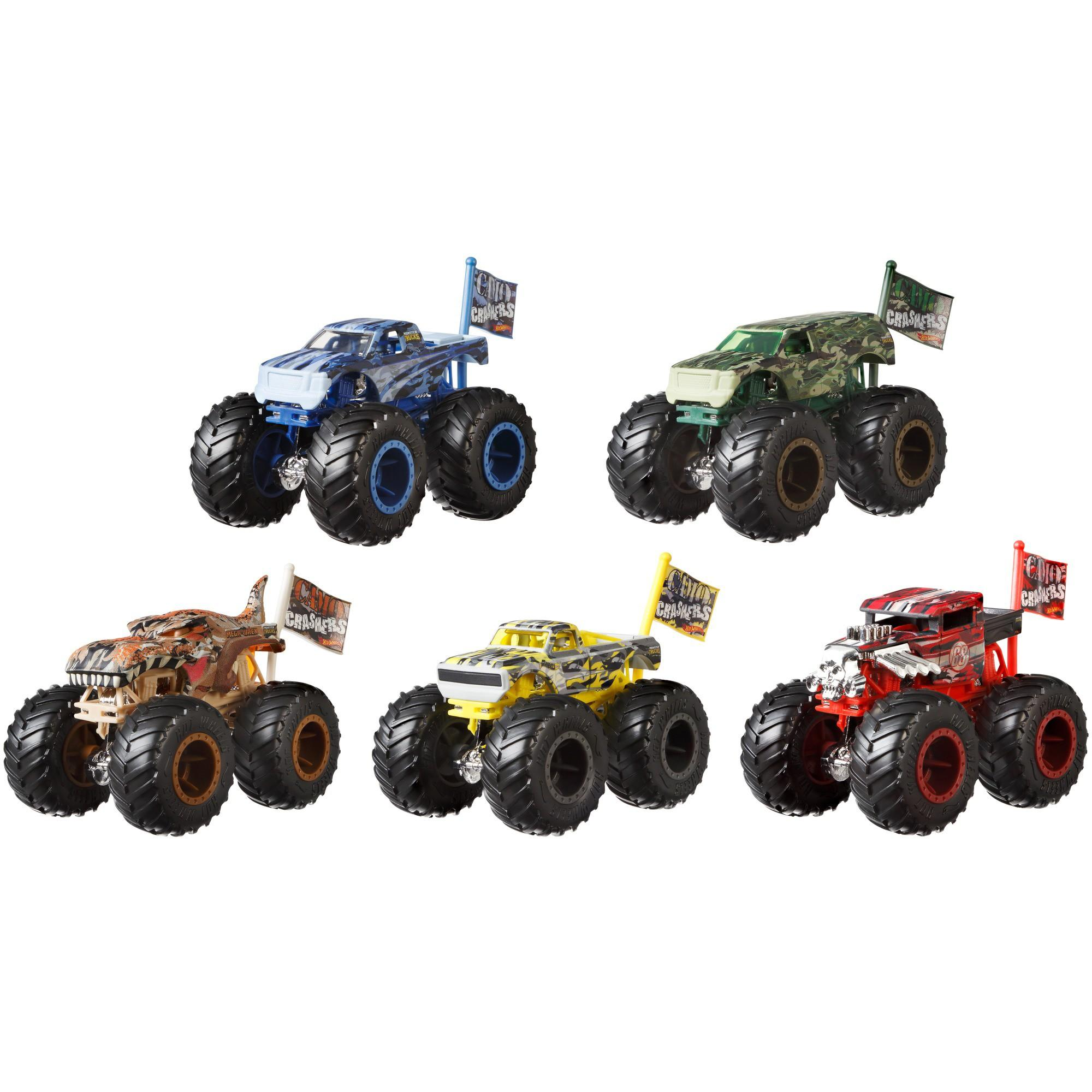 Hot Wheels Monster Trucks 1:64 Scale Camo Crashers Die-Cast Vehicle (Styles May Vary)