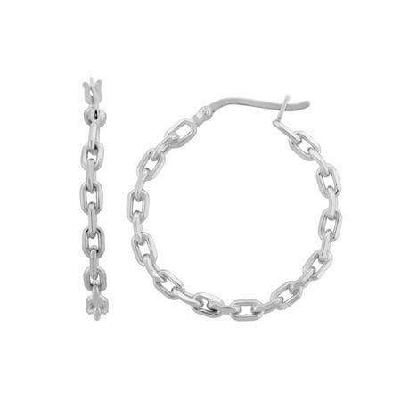 Sterling Silver Chain Link Hoop Earrings