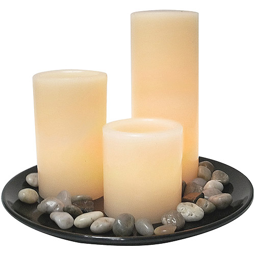 Flameless LED Candle Set with Natural Stones, Round