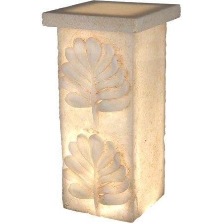 Polyresin Pedestal With Embossed Leaf Design, Cream