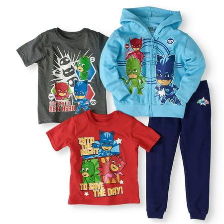d0783ae59 PJ Masks - Toddler Boy Hoodie, T-Shirts, And Jogger Pants 4Pc Set -  Walmart.com