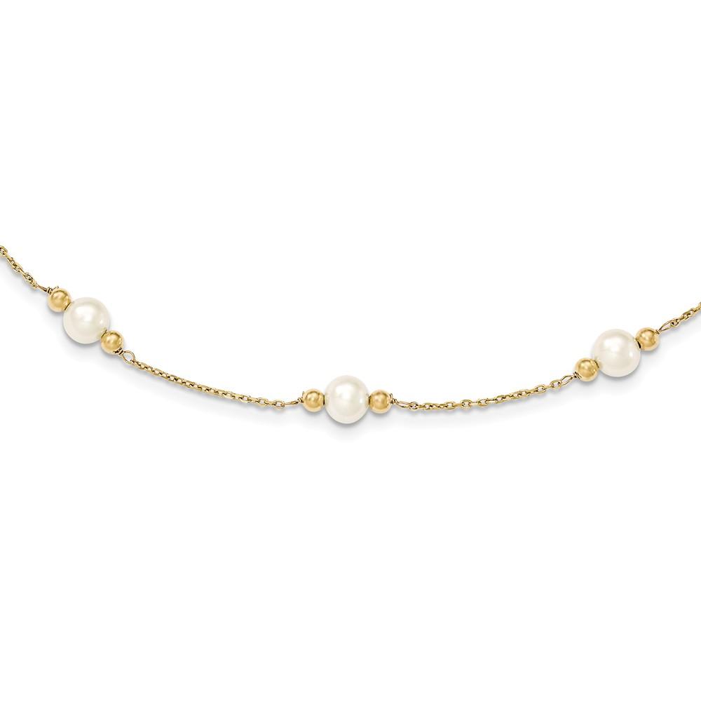 14k 14kt White Gold  FW Cultured Peacock Pearl W// Mirror Bead Bracelet