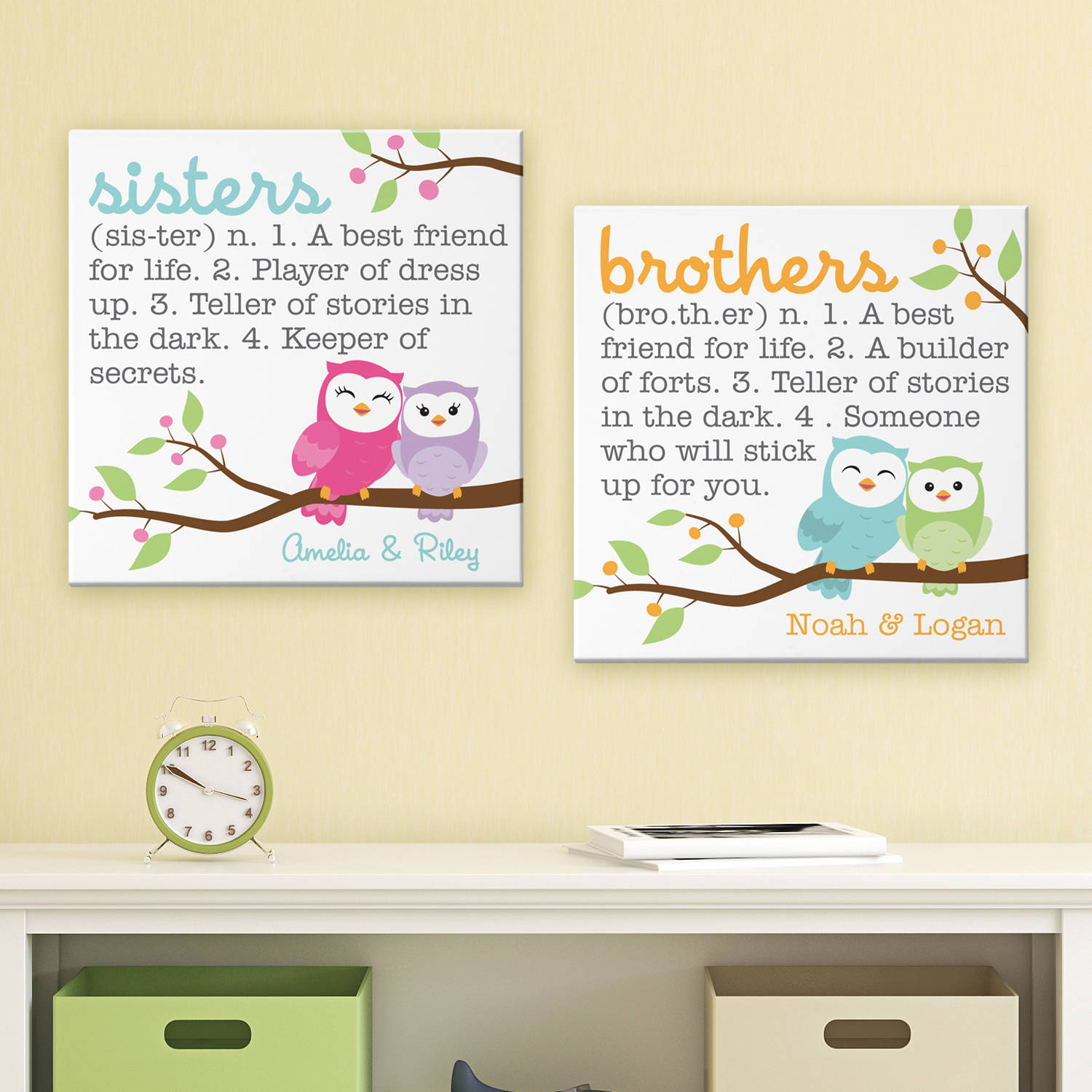 Personalized Sibling Meaning Canvas 11x11-Avilable in Brothers and Sisters Designs