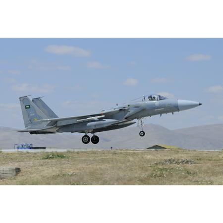 F-15 Eagle of the Royal Saudi Air Force landing at Konya Air Base Turkey Canvas Art - Riccardo NiccoliStocktrek Images (17 x 12) ()
