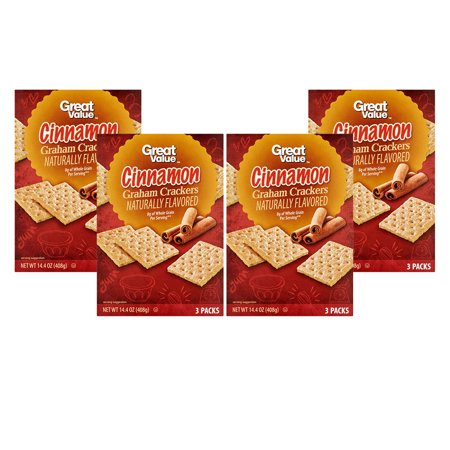 (4 Pack) Great Value Graham Crackers, Cinnamon, 3 Count, 14.4 - Halloween Treats With Graham Crackers