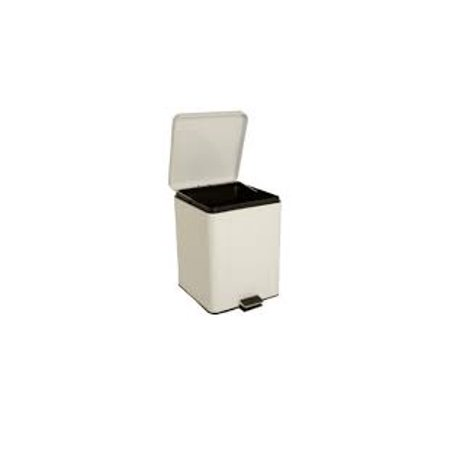 McKesson, Trash Can with Plastic Liner 20 Quart Square White Steel Step On