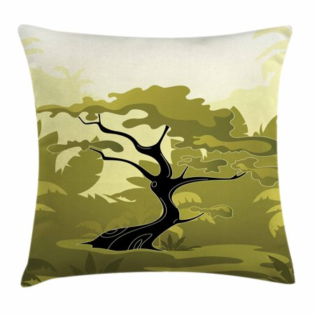 Olive Green Throw Pillow Cushion Cover, Japanese Tree in Jungle Abstract Nature in Summer Season, Decorative Square Accent Pillow Case, 16 X 16 Inches, Olive Green Black Pale Yellow, by Ambesonne ()