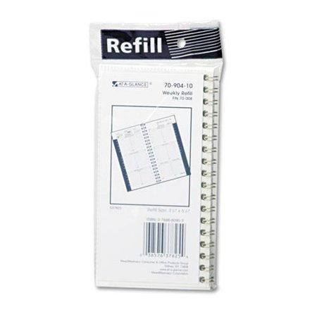 Ataglance 7090410 Recycled Weekly Appointment Book Refill, Hourly Ruled, 3-1/4 x 6-1/4, 2016