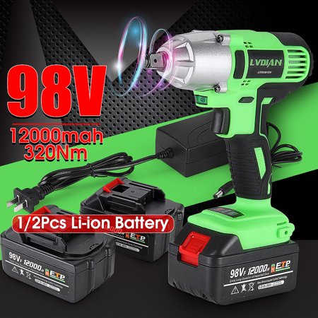 98V 320Nm Brushless Motor Impact Wrench Cordless Heavy Duty Drill Impact Wrench Gun Set with LED
