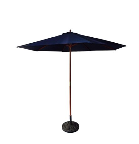 9 39 ext rieur patio parasol de march bleu marine et bois de cerisier. Black Bedroom Furniture Sets. Home Design Ideas