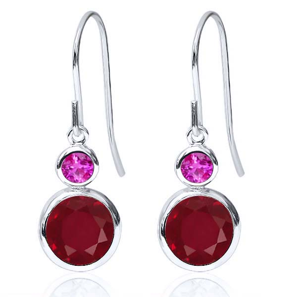 2.36 Ct Round Red Ruby Pink Sapphire 925 Sterling Silver Earrings by