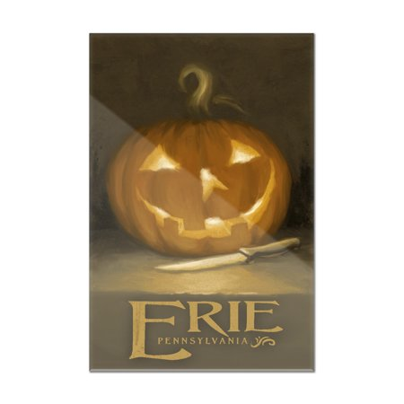 Erie, Pennsylvania - Jack-O-Lantern - Halloween Oil Painting - Lantern Press Artwork (8x12 Acrylic Wall Art Gallery Quality)