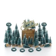 55 Pcs Artificial Frosted Sisal Christmas Tree Wood Base DIY Crafts Mini Pine Tree for Christmas Home Table Top Decor