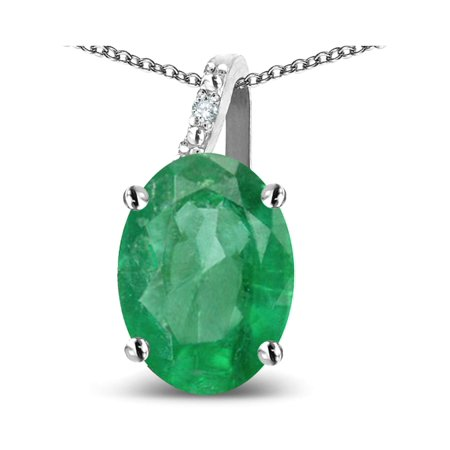 Star K Oval 8x6 Genuine Emerald Journey Pendant Necklace