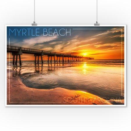 Myrtle Beach South Carolina Pier Sunset Lantern Press Photography 9x12 Art Print Wall