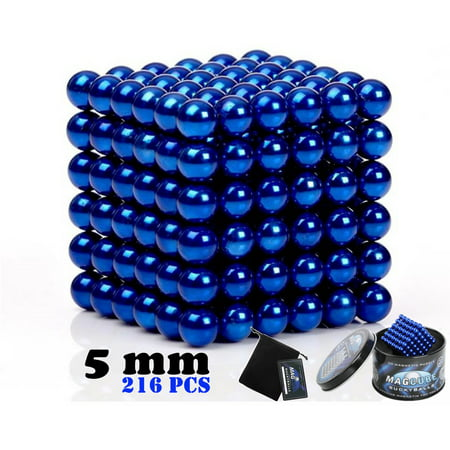 Blue Color Set of 216 pcs (5 mm) Magnetic Balls Beads, Round Buildable Rollable Magnets, Stress Relief Desk Office Toys, Multi-Use Craft & Refrigerator Magnets, Educational Building