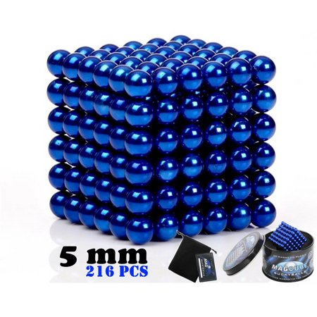 Blue Color Set of 216 pcs (5 mm) Magnetic Balls Beads, Round Buildable Rollable Magnets, Stress Relief Desk Office Toys, Multi-Use Craft & Refrigerator Magnets, Educational Building Blocks