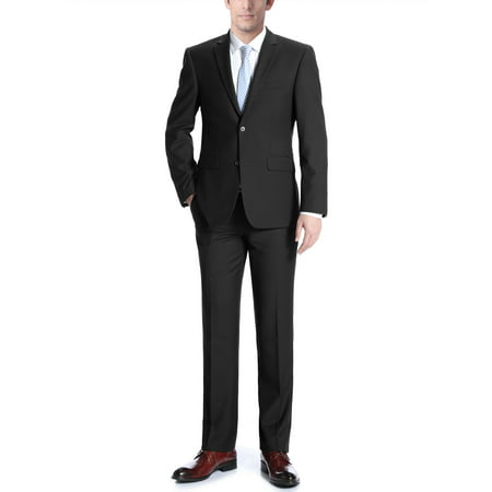 Adessi Mens Black Classic Fit Italian Styled Two Piece Suit