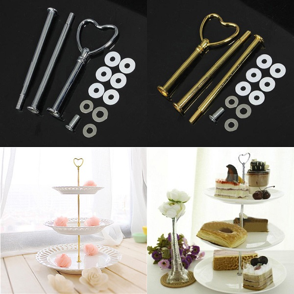 3 Tier MINI Flower Silver Cake Plate Stand Handle Fittings Hardware Rod Plate Stand Wedding Party Dessert Fruit Server