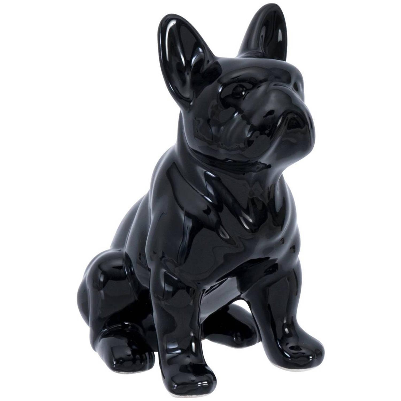 Elements Six Inch Tall Black Ceramic Bull Dog Figurine