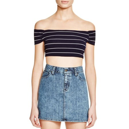 Cotton Candy Womens Off-The-Shoulder Striped Crop Top