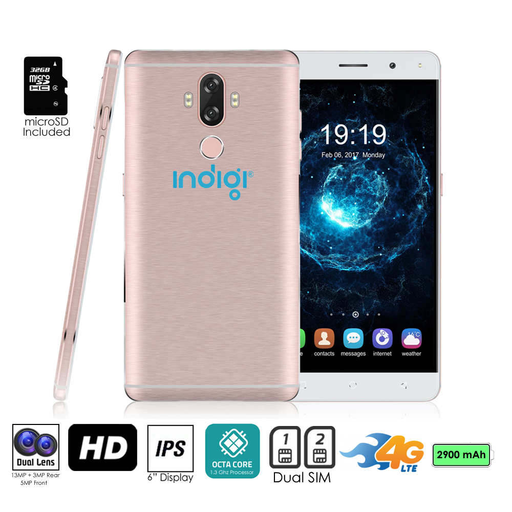 "GSM Unlocked 4G LTE 6"" SmartPhone by Indigi® (OctaCore @ 1.3GHz + Android 7 + Fingerprint Scanner) + 32gb microSD"