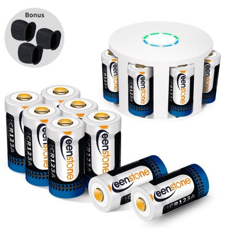 [12pcs]Arlo rechargeable security camera batteries and charger , 3.7V 700 mAh RCR123A Lithium-Ion Rechargeable Batteries for Arlo Security Camera (VMC3030/3200/3230/3330/3430/3530), UL UN Certified (Arbor Extender)
