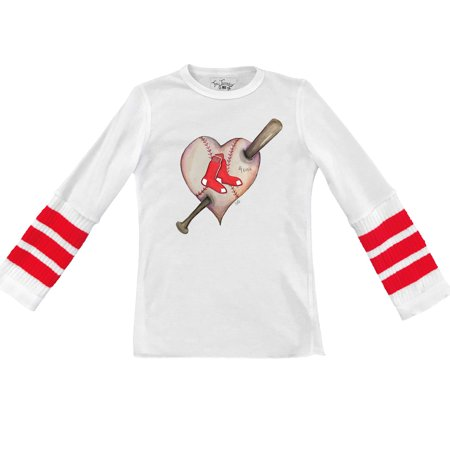 save off 9b89a f652c Boston Red Sox Tiny Turnip Youth Heart Tubular Cuffed Thermal Long Sleeve  T-Shirt - White/Red