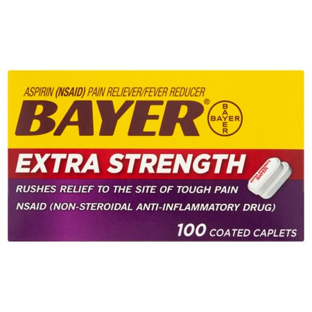 Bayer Aspirin Extra Strength Pain Reliever Fever Reducer Coated Caplets  500Mg  100 Ct