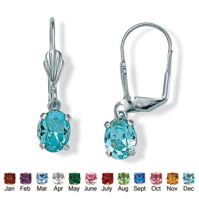 PalmBeach Jewelry 4785112 Oval-Cut Simulated Birthstone Silvertone Metal Drop Earrings December - Simulated Topaz