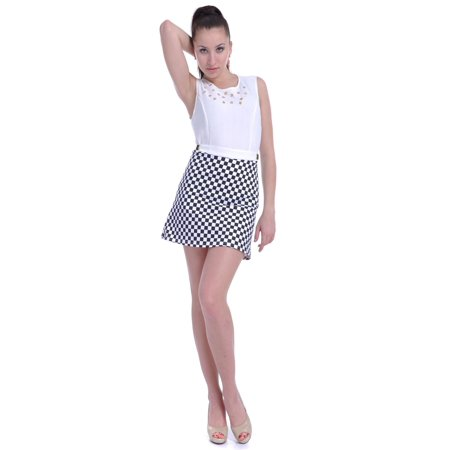 S/M Fit White and Black Checkered Pattern Skirt Side Buckles Dress