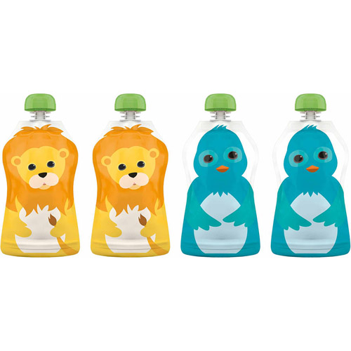 Squooshi Reusable Food Pouches, BPA-Free, Small, 2.5 oz, 4-Pack