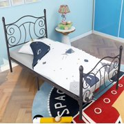 Metal Bed Frame Platform Bed ,Full Size, Black Silver